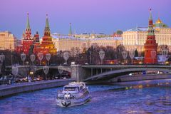 Pleasure craft on the Moskva River royalty free stock photos