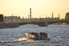 Pleasure craft on the river Neva Stock Image