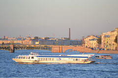 Pleasure craft on the river Neva Stock Photos