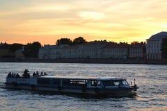 Pleasure craft on the river Neva. Stock Images