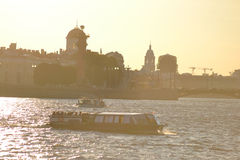 Pleasure craft on the river Neva. Royalty Free Stock Images