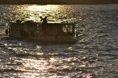 Pleasure craft on the river Neva. Stock Photos