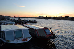Pleasure craft on the river Neva. Royalty Free Stock Photos
