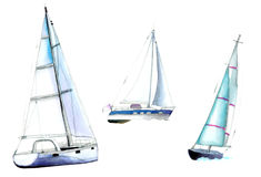 Pleasure craft, yachts. Watercolor illustration on white background Stock Photo