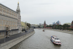 Pleasure cruise on the Moscow river. Royalty Free Stock Photo