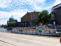 Pleasure cruiser from the banks of the River Spree in the Centre of Berlin stock photography