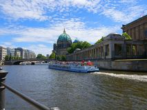 Pleasure cruiser from the banks of the River Spree in the Centre of Berlin royalty free stock photo