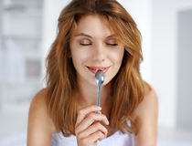 Pleasure from eating Stock Photography