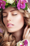 Pleasure. Face of Daydreaming Woman with Vernal Flowers. Pleasure. Daydreaming Woman with Vernal Flowers royalty free stock photo