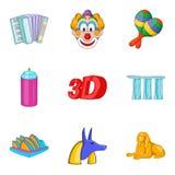 Pleasure icons set, cartoon style Royalty Free Stock Photography