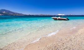 Pleasure motor boat anchored on the beach. Of Zakynthos island, Greece Royalty Free Stock Image