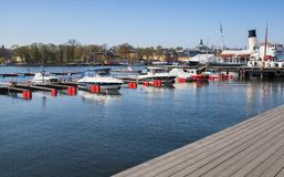Pleasure motor boats moored in Stockholm Royalty Free Stock Image