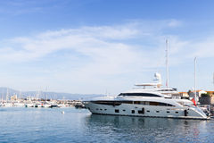 Pleasure motor yachts moored in marina of Ajaccio Royalty Free Stock Images