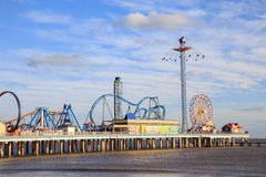 Pleasure Pier amusement park and beach on the Gulf of Mexico coast in Galveston Royalty Free Stock Photography