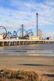 Pleasure Pier amusement park and beach on the Gulf of Mexico coast in Galveston Royalty Free Stock Photo
