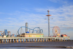 Pleasure Pier amusement park and beach on the Gulf of Mexico coast in Galveston Royalty Free Stock Image