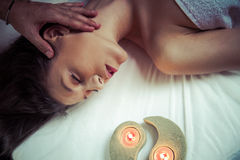Pleasure.portrait of young beautiful woman in spa environment Royalty Free Stock Photo