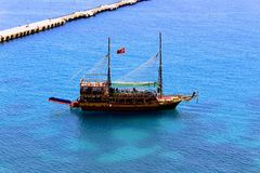 Pleasure sailing vessel for sea excursions on the Turkish Riviera Antalya, Turkey Royalty Free Stock Photography
