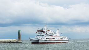 Pleasure ship approaching Port of Gdynia Stock Images