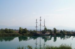 Pleasure ship in the Manavgat River. Turkey Stock Photography