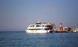 Pleasure ship  Moby Dick on the Mediterranean Sea. Near 155 beach  Kemer, Turkey Royalty Free Stock Photos