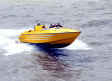 Pleasure Speedboat. BRIDLINGTON, YORKSHIRE, UK. JULY 15, 2009.  A pleasure speedboat taking holidaymakers for a ride at Bridlington, Yorkshire, UK Royalty Free Stock Photo