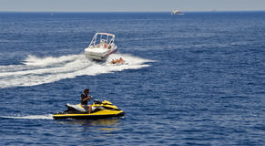 Pleasure and sport boats in gulf of Eilat, Israel Stock Photo