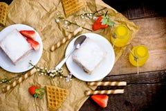 Pleasure of taste - cream pie, creamy cake Royalty Free Stock Photography