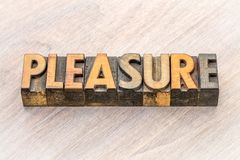 Pleasure word abstract in wood type Royalty Free Stock Images