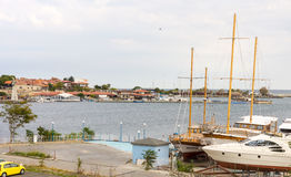The pleasure yacht at the dock in Nessebar, Bulgaria Stock Photography