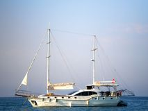 Pleasure yacht in the Mediterranean Sea. View from 155 beaches, Kemer stock photos