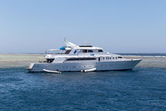 Pleasure yacht in the Red sea. July 01, 2015 in Port Ghalib, Egypt Royalty Free Stock Photos
