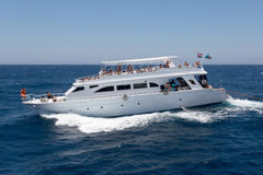 Pleasure yacht in the Red sea. July 01, 2015 in Port Ghalib, Egypt Royalty Free Stock Photography