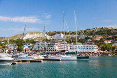 Pleasure yachts and boats are moored in marina of Balchik Royalty Free Stock Photography