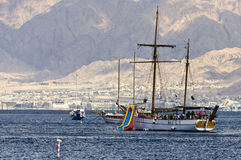 Pleasure yachts and boats in the Red Sea, Eilat, Israel Royalty Free Stock Photography