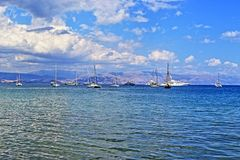 Ionian sea yachts. Pleasure yachts in Garitsa Bay Corfu town  Ionian Sea  Corfu island Greece Royalty Free Stock Photo