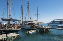 Pleasure yachts in marina of Eilat Stock Photo