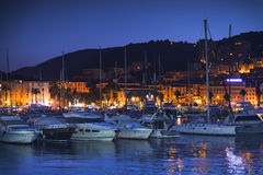Pleasure yachts and motor boats at night Stock Photos