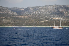 Pleasure yachts near the Mediterranean shore of Turkey Stock Images