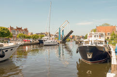 Pleasure yachts in the port of Lemmer. Pleasure yachts in the port of Lemmer in Friesland, Netherlands Royalty Free Stock Photography