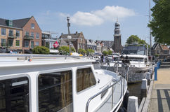Pleasure yachts in the port of Lemmer in Friesland, Netherlands. Royalty Free Stock Image