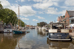 Pleasure yachts in the port of Lemmer in Friesland, Netherlands. Stock Images