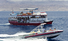 Pleasured and sport boats at the Red Sea Royalty Free Stock Image