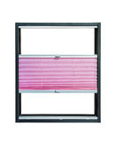 Pleated blind partially opened - pink color Royalty Free Stock Photos