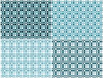 Pleated fabric pattern. Set of four backgrounds with abstract square pattern in cyan colour Stock Image