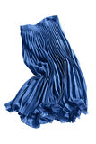 Pleated skirt isolated. Crumpled blue pleated chiffon skirt on white background Stock Image