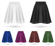 Pleated skirts set template. Stock Photos