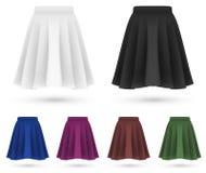 Pleated skirts set template. Stock Photos