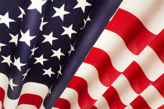 Pleated United States of America national flag. As a background Stock Photos