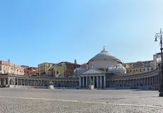 Plebiscito fyrkant Naples Arkivbild